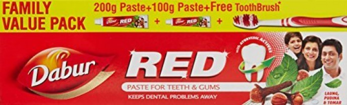Dabur Red Tooth Paste Value pack 200g+100g (free ToothBrush) @ Rs.103