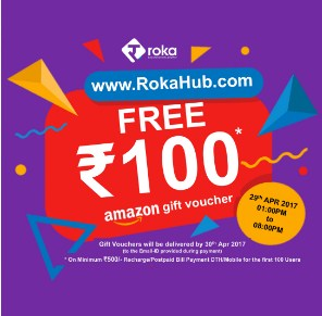 RokaHub Free Rs 100 Amazon Voucher