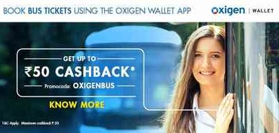 Oxigen wallet 5% cashback Bus Booking