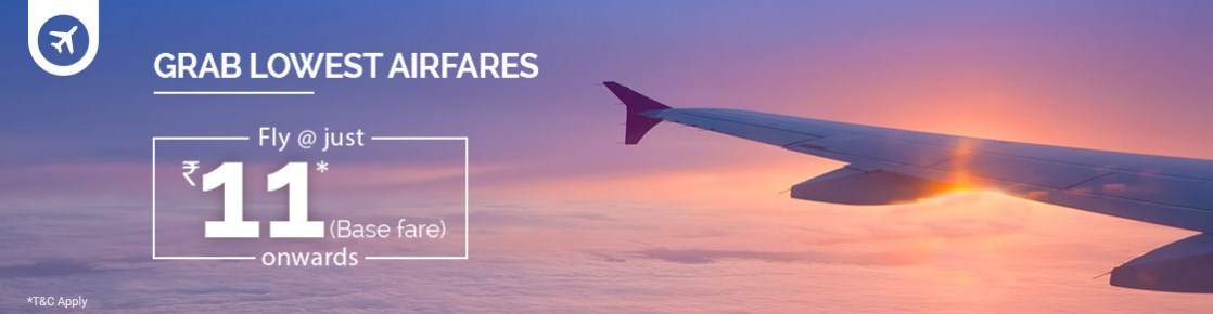IndiGo Jet Airways SpiceJet - Base Fares Starting @ Rs 11 Only