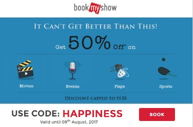 Bookmyshow HAPPINESS Get 50% off Upto 150 on Movie Tickets
