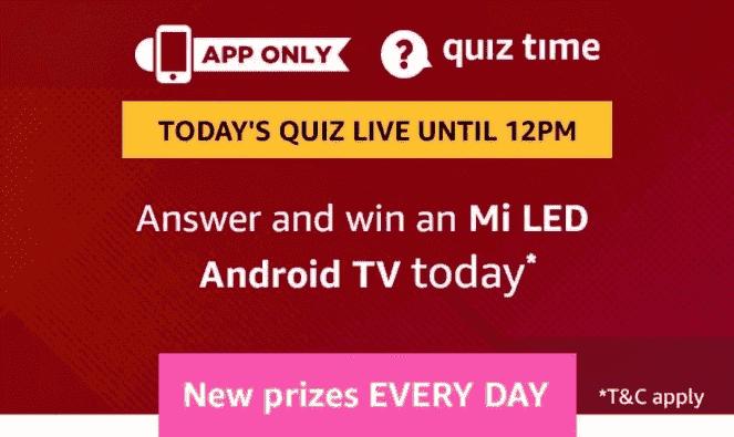 AmazonMi Android TVQuiz Answers