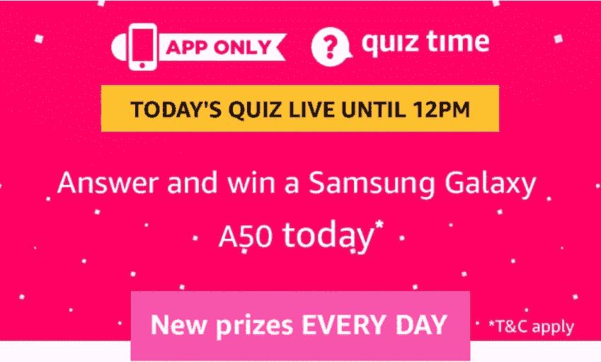 Amazon Samsung Galaxy A50 Quiz Answers