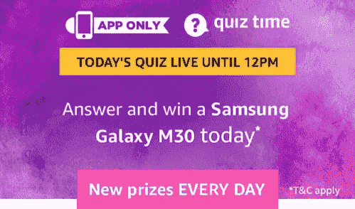 Amazon Samsung Galaxy M30 Quiz Answers