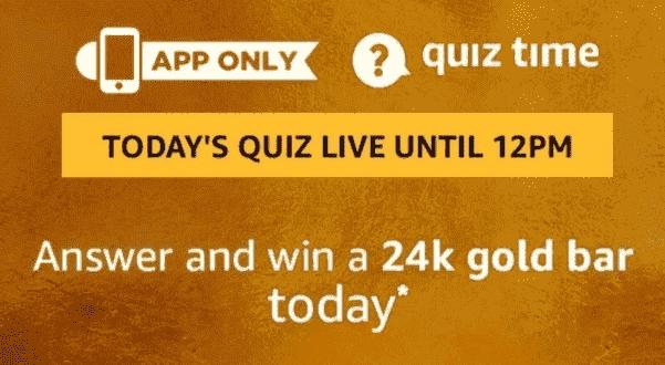 Amazon24k GoldBar Quiz Answers