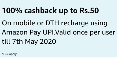 Amazon Rs 50 DTH Recharge Offer