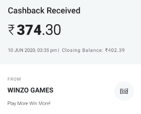 Winzo Gold App Paytm
