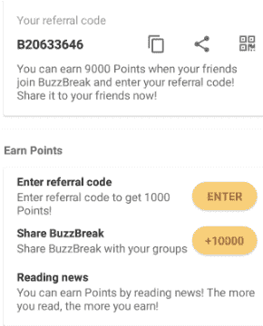 BuzzBreak Referral Codes