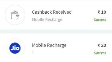 Freecharge Jio Rs 10 Cashback
