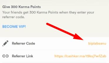 cashkarma code