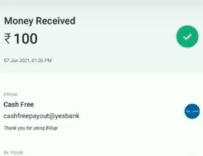 billup payment proof