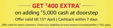 Amazon Cash Load Offer – Get Rs 400 Extra on Adding Rs 5000