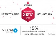 Snapdeal welcome Sale 2017 – Get Upto 75% Off + 15% Discount Via Sbi Cards