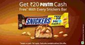 Paytm Snickers – Buy Snickers & Get Rs 20 Paytm Cash Free