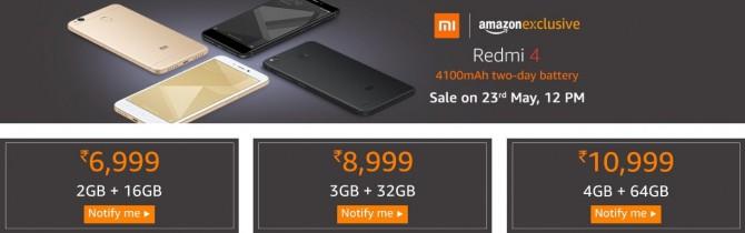 Amazon – Redmi 4 Sale Starts @ Rs. 6999