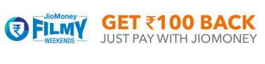 Bookmyshow Jiomoney Filmy Weekends – Get Rs 100 Cashback Using Jiomoney
