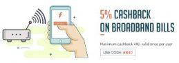 Freecharge – Get 5% Cashback Upto 40 On Broadband Bill Payments