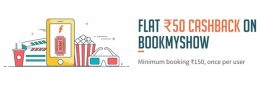 Freecharge – Get Rs.50 Cashback On Bookmyshow