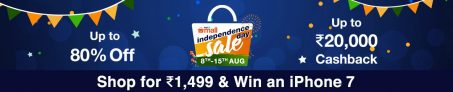 Paytm Independence Day Sale August – Upto 80% off + cashback