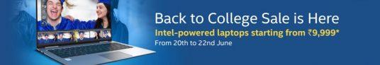Flipkart Back to College Sale 20 -22nd June – Laptops Starts @ Rs 9999