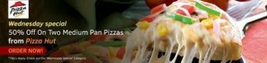 Swiggy – Get 50% off on 2 medium Pan Pizzas From Pizza Hut