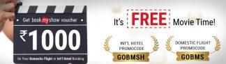 Goibibo – Get a Free BookMyShow Voucher worth Rs.1000