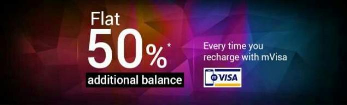 Tata Sky mVisa Offer – Get Flat 50% Extra Balance On Recharging With mVisa