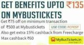 Mybustickets Offer – Get Rs 75 Off + 15% Cashback On Paying Via Freecharge
